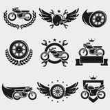 Motorcycles labels and icons set. Vector. Transport, race, wheel, drive royalty free illustration