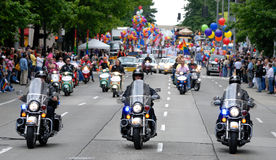 Motorcycles leads the parade Royalty Free Stock Photo