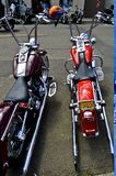 Motorcycles Lined Up in Florence, Oregon stock photos