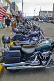 Motorcycles Lined Up in Florence, Oregon. Motorcycles line the streets of Florence, Oregon on Memorial Day stock photo
