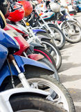 Motorcycles lined up Royalty Free Stock Photo