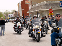 Motorcycles On Main Street. April 26, 2008 Belton, Mo. The second annual Bikers, Blues & BBQ Charity Poker Run was Saturday at the Belton Eagles Lodge, 310-312 Royalty Free Stock Image