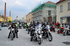 Motorcycles meeting and mass ride Stock Photo