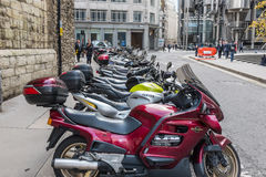 Motorcycles parked central London Royalty Free Stock Images