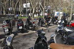 Motorcycles parked in Barcelona. Spain Royalty Free Stock Images