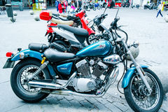 Motorcycles parked Stock Images