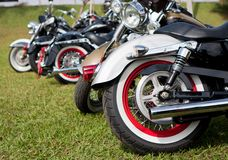 Motorcycles parked Stock Photography