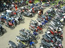 Motorcycles parked Stock Photo