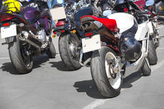 Motorcycles on parking on asphalt Royalty Free Stock Photography