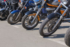 Motorcycles on parking on asphalt Royalty Free Stock Photo