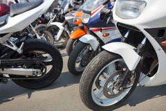 Motorcycles on parking on asphalt Stock Photography