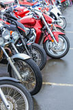 Motorcycles on parking Stock Images