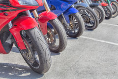 Motorcycles on parking Stock Photography