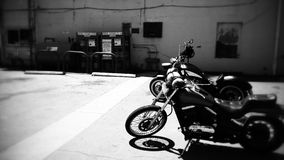 Motorcycles In Parking Lot Royalty Free Stock Photo