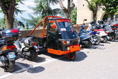 Motorcycles on the parking lot in the fortress of San Marino. Stock Image