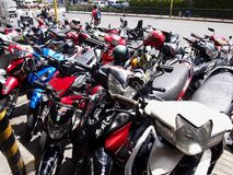 Motorcycles at a parking lot Royalty Free Stock Images