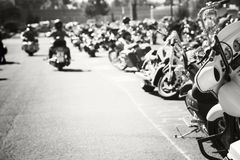 Motorcycles parking Royalty Free Stock Image