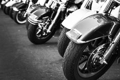 Motorcycles parking Royalty Free Stock Photos