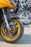 Motorcycles on parking Stock Photos
