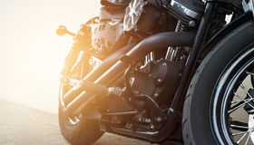 Motorcycles parking on the street Royalty Free Stock Photography