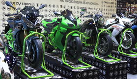 Motorcycles on the podium in a row Stock Photos