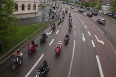 Motorcycles populating the street Stock Photography