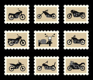 Motorcycles on postage stamps Stock Photo
