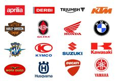 Motorcycles producers logos Stock Image