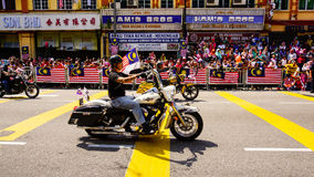 Motorcycles. Public peoples watching a convoy of motorcycles club at Malaysia national independance day Stock Images