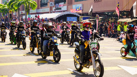 Motorcycles. Public peoples watching a convoy of motorcycles club at Malaysia national independance day Stock Photography