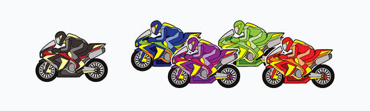 5 Motorcycles Racing graphic. 5 Motorcycles racing side view designed using colorful graphic vector Stock Photography