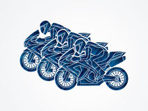 3 Motorcycles Racing graphic. Vector Royalty Free Stock Photos