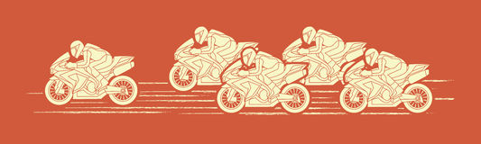 5 Motorcycles Racing graphic. Vector Royalty Free Stock Photography