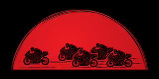 5 Motorcycles Racing graphic. Vector Stock Photography