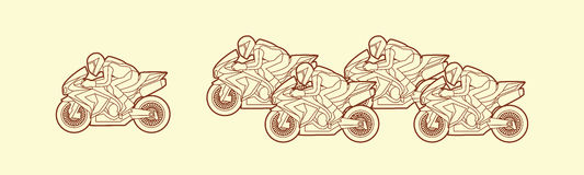 5 Motorcycles Racing graphic. Vector Stock Image