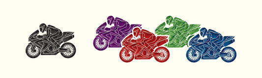 5 Motorcycles Racing graphic. Vector Stock Photo