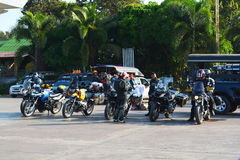 Motorcycles Rally. Recess on gas station Royalty Free Stock Photography