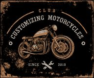 Motorcycles, Retro, Racer, Old motorbike, Transport. Old motorcycle on a dark background. Retro motorcycle. Club customizing motorcycles Stock Image
