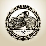 Motorcycles, Retro, Racer, Old motorbike, Transport. Old motorcycle on a dark background. Retro motorcycle. Club customizing motorcycles Stock Photo