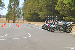 Motorcycles at a rider education school Stock Image