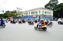 Motorcycles riders in Ho Chi Minh city Royalty Free Stock Photo