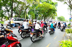 Motorcycles riders in Ho Chi Minh city Stock Photos