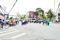 Motorcycles riders in Ho Chi Minh city Stock Image