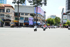 Motorcycles riders in Ho Chi Minh city Stock Images