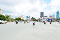 Motorcycles riders in Ho Chi Minh city Royalty Free Stock Photos