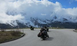 Motorcycles and road in the alps in europe Stock Photography
