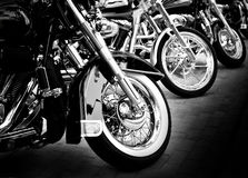 Motorcycles in a row. Motorbikes standing in a row at motoshow event Royalty Free Stock Photography