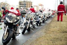 Motorcycles of Santa Claus Royalty Free Stock Photo