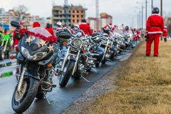 Motorcycles of Santa Claus Stock Images