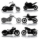 Motorcycles. Set of motorcycles silhouettes  on white. Vector illustration Royalty Free Stock Photography